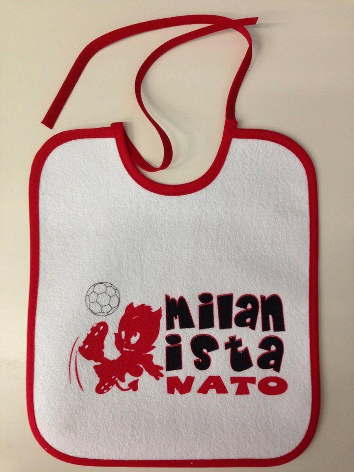 """Bavaglino Neonato """"Milanista Nato"""" Ufficiale A.C. Milan"""
