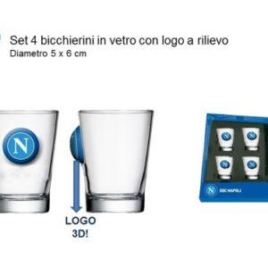Set 4 Bicchierini In Vetro Ufficiale S.S.C. Napoli