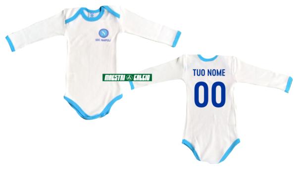Body Neonato Personalizzato Azzurro Manica Lunga Ufficiale S.S.C. Napoli