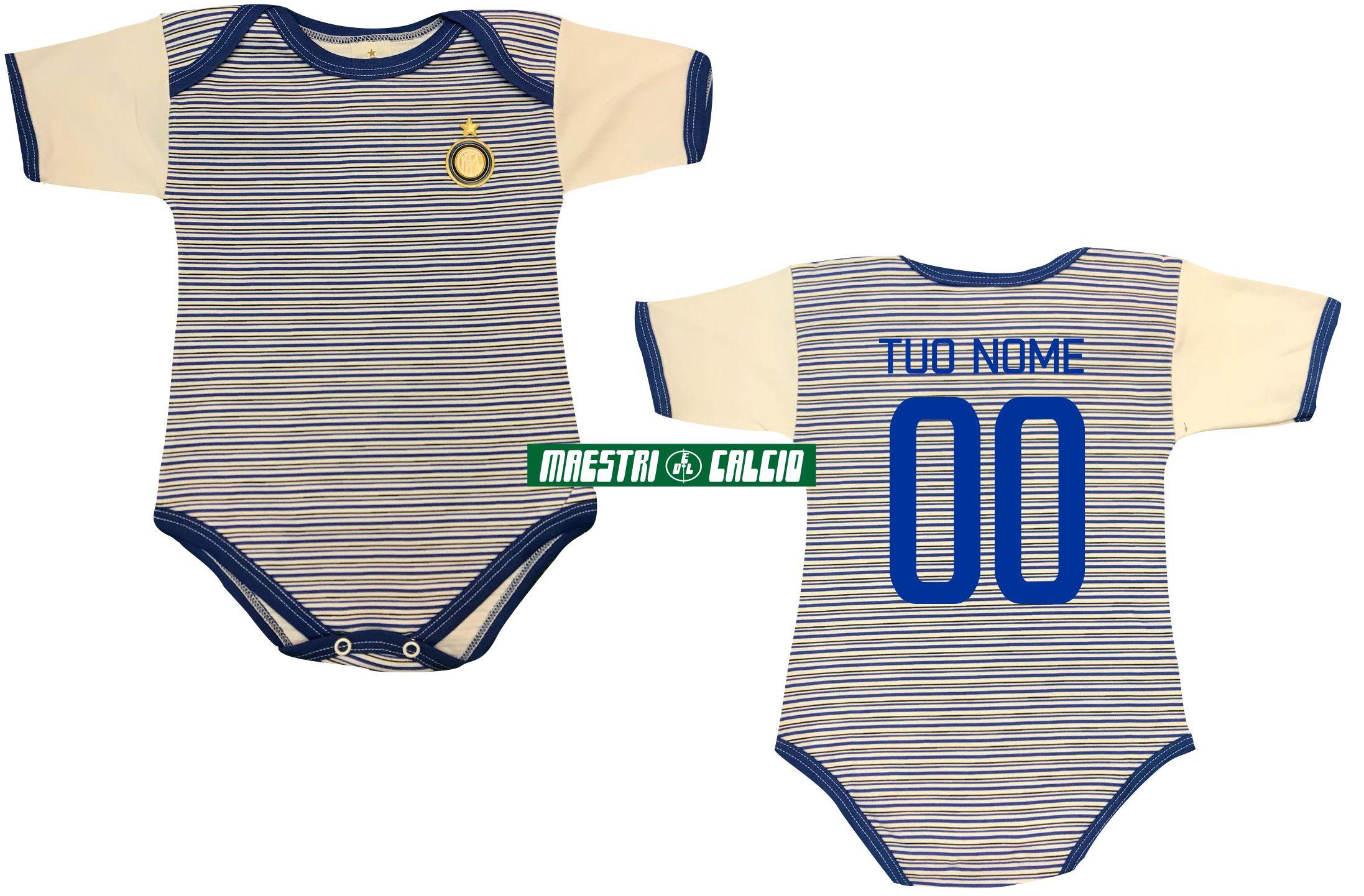 Body Neonato Rigato Personalizzato Ufficiale F.C. Inter