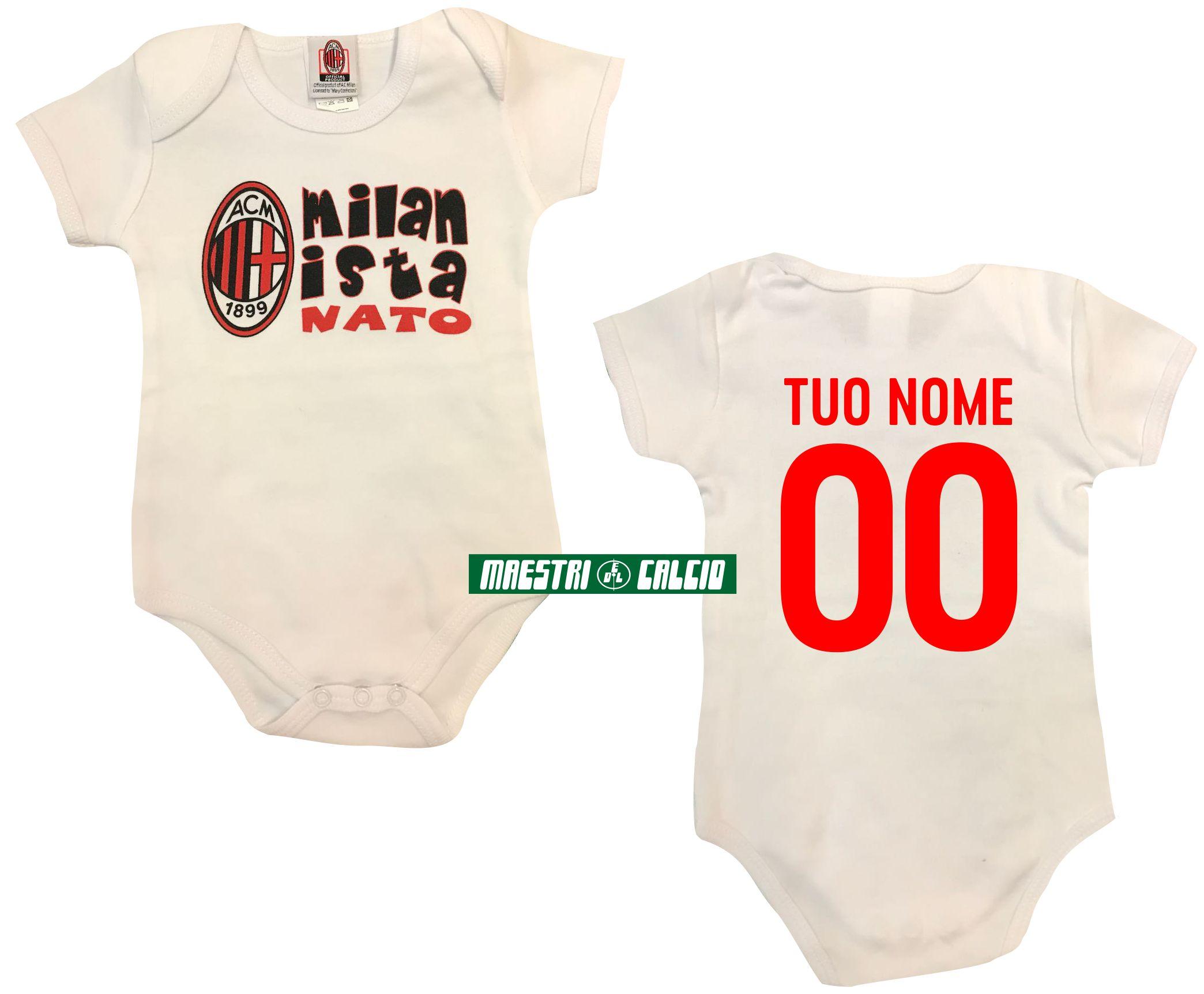 """Body Neonato """"MILANISTA NATO"""" Personalizzato Ufficiale A.C. Milan"""