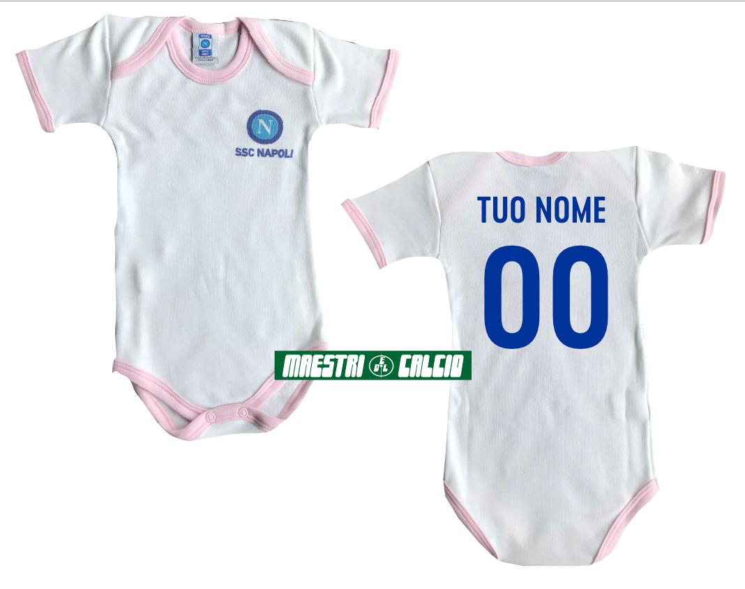 Body Neonato Personalizzato Rosa Ufficiale S.S.C. Napoli