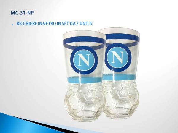 Set 2 Bicchieri In Vetro Ufficiale S.S.C. Napoli