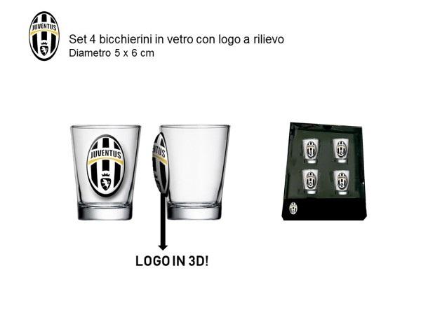Set 4 Bicchierini In Vetro Ufficiale F.C. Juventus