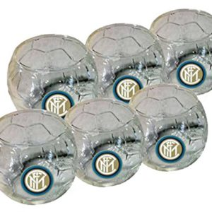 Set 6 Bicchierini Pallone In Vetro Ufficiale F.C. Inter