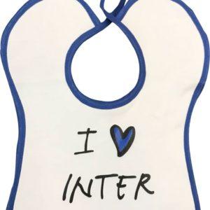 """Bavaglino Neonato """"I Love Inter"""" Personalizzato Ufficiale F.C. Inter"""