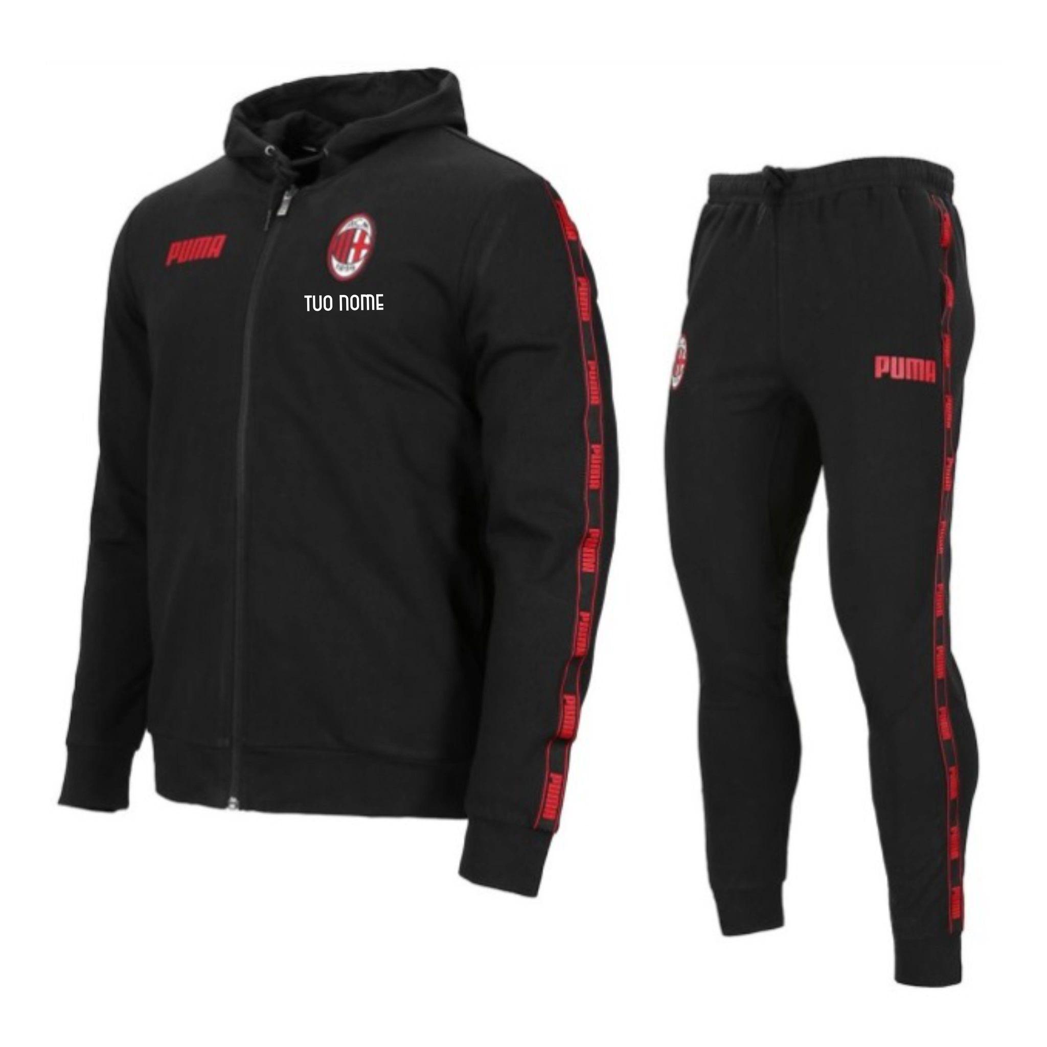 Tuta Cappuccio Nera Bambino A.C. Milan Ufficiale Puma 2020/2021