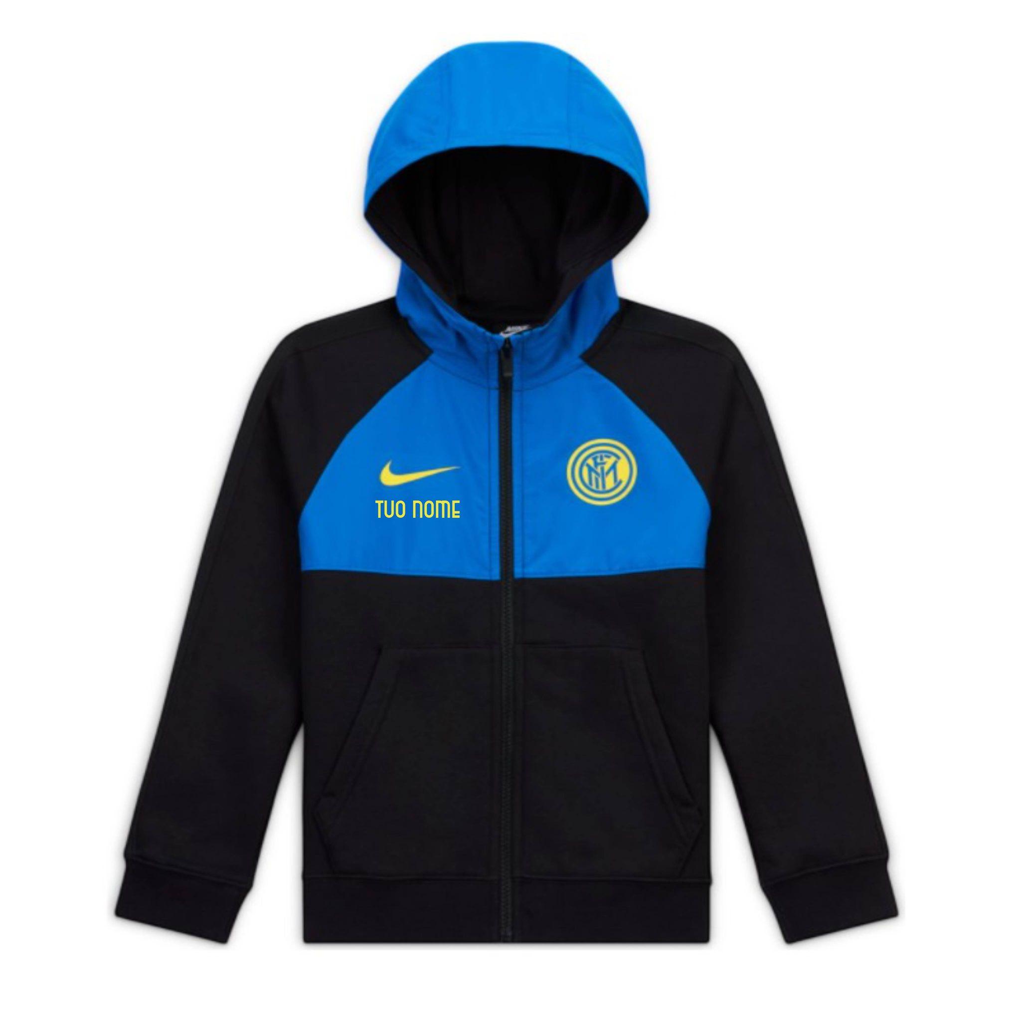 Felpa Cappuccio Rappresentanza NeroBlu Ufficiale Nike Bambino F.C. Inter 2020/2021